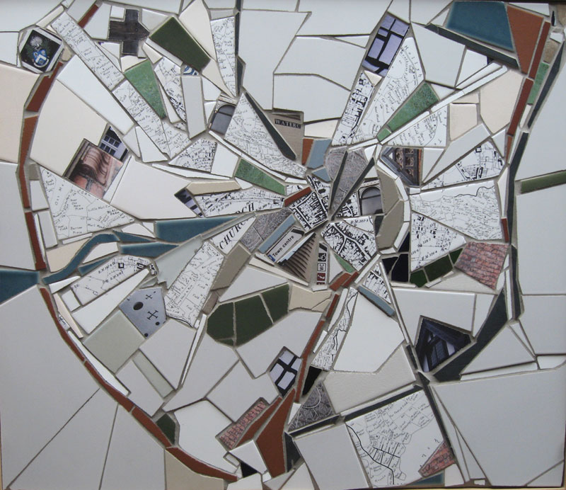 Exploration of the Whitchurch history, architecture and town map in mosaic.  Part of Whitchurch Mosaic Arts Trail project.